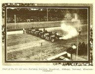 "1910 9 8 NATIONAL Probably Sept. 3, 1910 ""Start of the 301-450 race"" Event 5 – 5-mile Race (9 cars racing) open to stock chassis/engines 301-450 CID Place 1 Car 9 Driver Johnny Aitken National Place 3 Car 18 Driver Arthur Greiner National Place 4 Car 11 Driver Charlie Merz National Photo: THE AUTOMOBILE magazine September 8, 1910 page 387"