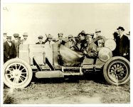 "1912 6 5 Joe Dawson in National Car 8 1912 Indianapolis 500 Winner Photo courtesy: Indianapolis Motor Speedway ""Dawson was completely exhausted at the Finish,"" Horseless Age magazine June 5, 1912 page 981 Photo courtesy Indianapolis Motor Speedway C 484"