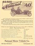 "1910 1 5 NATIONAL $2500 National ""40"" NATIONAL MOTOR VEHICLE Co Indianapolis, IND THE HORSELESS AGE Jan 5, 1910 8″x10.75″"