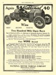 1910 9 17 NATIONAL Again NATIONAL 40 Wins Two Hundred Mile Open Race NATIONAL MOTOR VEHICLE Co Indianapolis, IND THE HORSELESS AGE Sept 7, 1910 8.5″x11.25″page 18