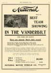 1910 10 5 NATIONAL National BEST TEAM SHOWING IN THE VANDERBILT NATIONAL MOTOR VEHICLE CO. Indianapolis, IND THE HORSELESS AGE October 5, 1910 8.5″x11.75″ page 27