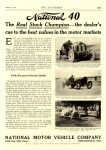 1912 1 4 NATIONAL Racing National 40 The Real Stock Champion NATIONAL MOTOR VEHICLE COMPANY Indianapolis, IND THE AUTOMOBILE January 4, 1912 8.25″x11.5″ page H-7