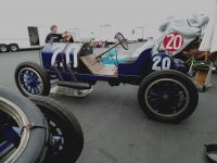 "2014 8 16 1911 NATIONAL 40 Racer No. 20 ""T' Head, 4-cyl, 460 cu. In. – 100 h. p. (est.) Driven by Charlie Merz and Mechanician Leo E. Banks in 1911 Indianapolis 500 1911 7th Place Winner HMSA Monterey Historics Mazda Raceway Laguna Seca, CAL ca. August 16, 2014 Mechanician's side view"