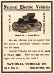 1902 NATIONAL National Electric Vehicles Model 70—Price $850 ($850 = $21,743 in 2011) NATIONAL VEHICLE CO Indianapolis, Ind 4″x5″