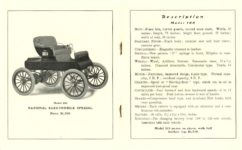 1903 NATIONAL National Electric NATIONAL ELECTRIC VEHICLES ADVANCE CATALOG 1903 ELECTROMOBILE SPECIAL Model 100 $1,200 National Motor Vehicle Company Indianapolis, IND USA 5″x6.25″ folded pages 10 & 11