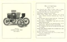 1903 National Electric NATIONAL ELECTRIC VEHICLES ADVANCE CATALOG 1903 PARK TRAP Model 110 $1,250 National Motor Vehicle Company Indianapolis, IND USA Pages 12 & 13 5″x6.25″ folded