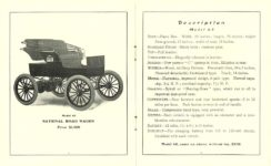 1903 NATIONAL National Electric NATIONAL ELECTRIC VEHICLES ADVANCE CATALOG 1903 ROAD WAGON Model 65 $1,000 National Motor Vehicle Company Indianapolis, IND USA 5″x6.25″ folded pages 4 & 5