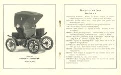 1903 NATIONAL Electric NATIONAL ELECTRIC VEHICLES ADVANCE CATALOG 1903 STANHOPE Model 85 $1,500 National Motor Vehicle Company Indianapolis, IND USA 5″x6.25″ folded pages 8 & 9