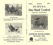1903 DURYEA Motor Vehicle One-Hand Control Simplicity    Convenience    Safety WATERLOO MOTOR WORKS Waterloo, IOWA Front & Back pages 3.5″x6″ folded