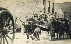 11 – Red River carts, Corner Third and Cedar Streets, 1865 Photographs of Early St. Paul From Edward A Bromley's Collection Published ca. 1910 5'5″x3.5″ Postcard