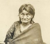 """19 – """"Old Bets,"""" Sioux squaw (a privileged character) Photographs of Early St. Paul From Edward A Bromley's Collection Published ca. 1910 5'5″x3.5″ Postcard"""