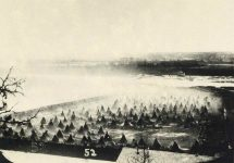 52 – Captured Sioux Indians coralled at Fort Snelling, 1862 Photographs of Early St. Paul From Edward A Bromley's Collection Published ca. 1910 5'5″x3.5″ Postcard