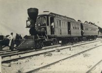 """55 – First train Minnesota Valley Railroad, now """"Omaha"""" Photographs of Early St. Paul From Edward A Bromley's Collection Published ca. 1910 5'5″x3.5″ Postcard"""