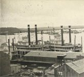 "77 – Steamers ""War Eagle"" and ""Itasca"" at lower levee, 1872 Photographs of Early St. Paul From Edward A Bromley's Collection Published ca. 1910 5'5″x3.5″ Postcard"