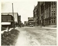 5th ST at 5th AVE South, 1900 Looking towards 4th AVE South The NEW City Hall is on the right. Minneapolis, Minnesota Collected & Compiled by Edward A. Bromley 10″x8″ black & white photograph