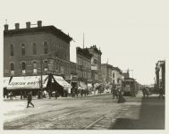 Hennepin AVE from 2nd ST towards Washington AVE, 1901 Minneapolis, Minnesota Collected & Compiled by Edward A. Bromley 10″x8″ black & white photograph