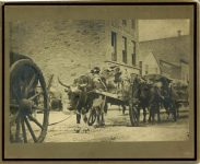 1871 Bromley photograph No. 11 1871 Red River carts Cor Third and Cedar Sts 9.75″x6.75″