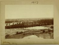 29 – 1857 Toward Mill District ? Looking across Nicollet Island the from Winslow House From Edward A Bromley's Collection 8″x6″ photo from original negative