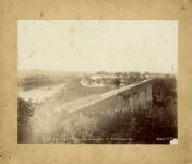 8th INFANTRY CROSSING THE BRIDGE AT FORT SNELLING HAAS & CO PHOTO Minneapolis, Minnesota ca. May 1893 9.5″x7.5″