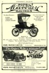 1904 POPE-Waverley Electric Model No. 21 Runabout $850 POPE MOTOR CAR CO., Waverley Dept. Indianapolis, Indiana Cycle and AUTOMOBILE TRADE JOURNAL 1904 6.25″x9.75″ page 52