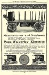 1905 POPE-Waverley Electric Automobile Delivery Costs Less POPE MOTOR CAR CO. Indianapolis, IND The Review of Reviews – Advertising Section 1905 6.25″x9.75″ page 69