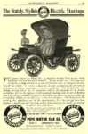1906 4 POPE-Waverley Electric The Stately, Stylish Electric Stanhope POPE MOTOR CAR CO. Indianapolis, IND EVERYBODY'S MAGAZINE April 1906 6.25″x9.5″ page 99