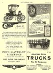 1907 4 3 POPE-Waverley Electric Model 69 With Top, $1,325 POPE-WAVERLEY ELECTRICS POPE MOTOR CAR COMPANY Indianapolis, IND THE HORSELESS AGE April 3, 1907 8.25″x12″ page 12
