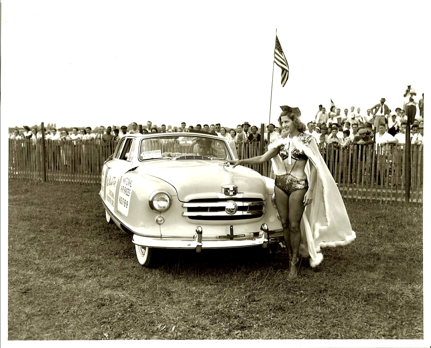 ca. 1950 Rambler Convertible Miss Marilyn Rich Original Helicopter Girl National Air Races Aug 7-8-9 NASH Dealers of Metro Detroit From a 10″x8″ Black & White negative