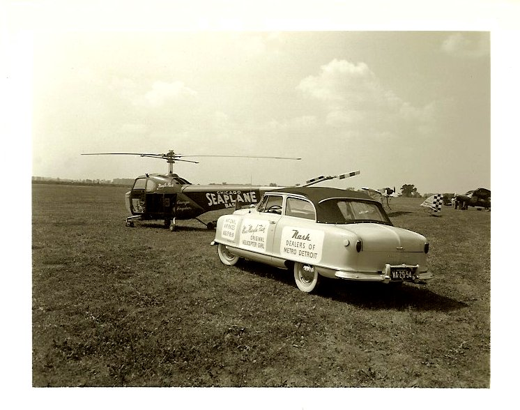ca. 1950 Rambler Convertible Miss Marilyn Rich Original Helicopter Girl National Air Races Aug 7-8-9 NASH Dealers of Metro Detroit From a 5″x4″ Black & White negative