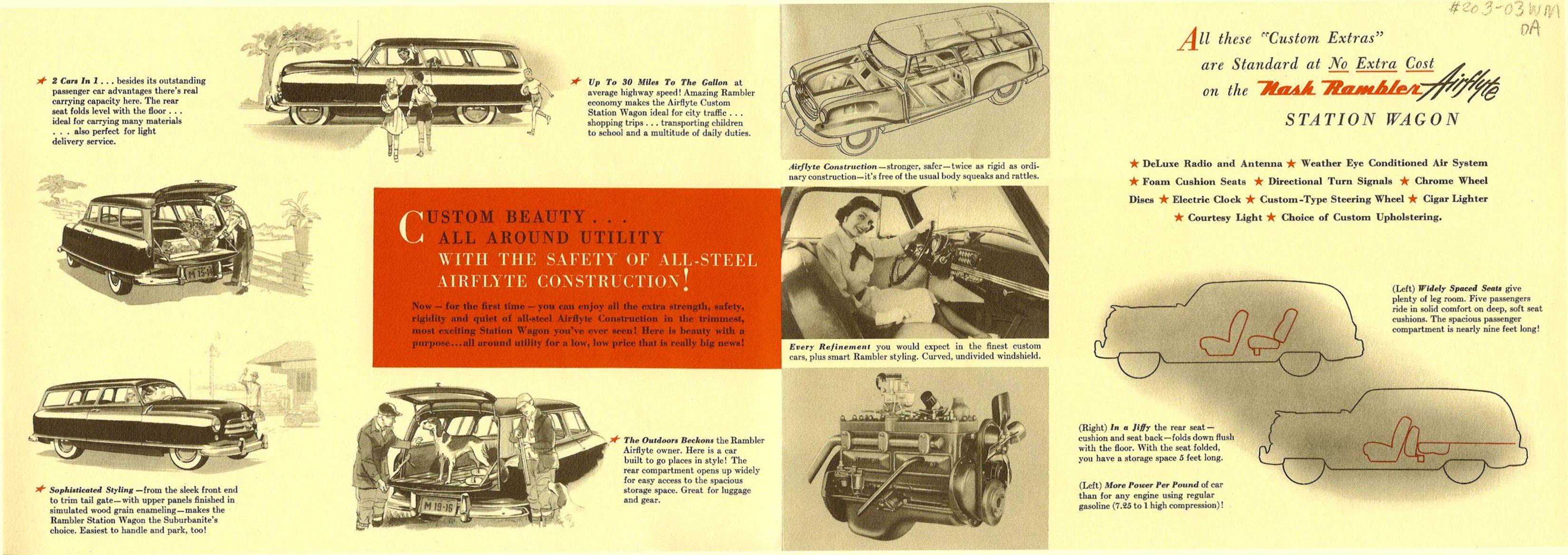 The Nash Rambler Airflyte 1950 America's Lowest-Priced Custom Station Wagon Inside Dated: Jul 17, 1950 Folded: 11″x7.75″ Open: 22″x15.5″ NSP 50-496-100M-5-50
