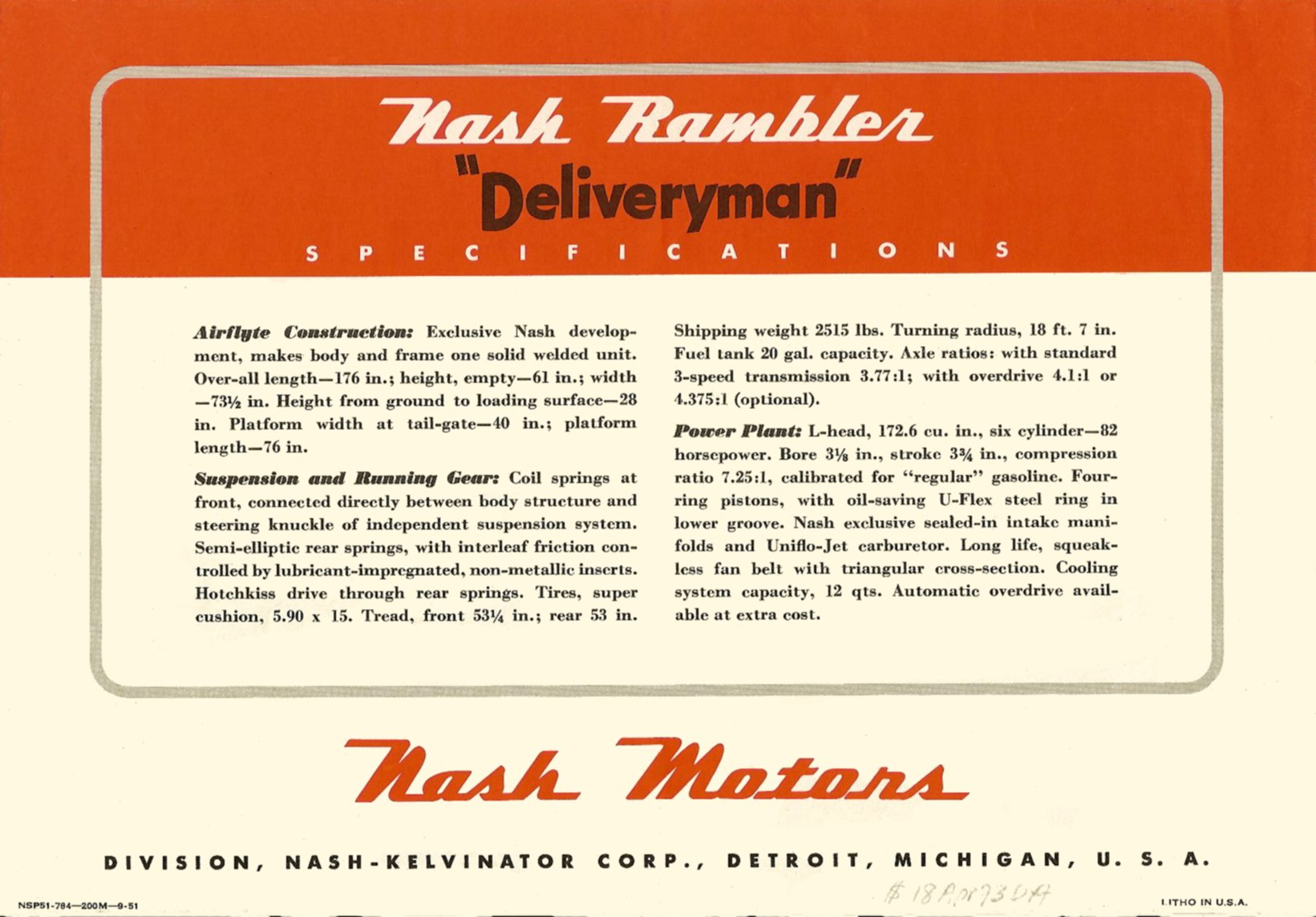 "The Nash Rambler ""Deliveryman"" Back Cover Folded: 11″x7.5″ Open: 22″x7.5″ NSP51-784—200M-9-51"