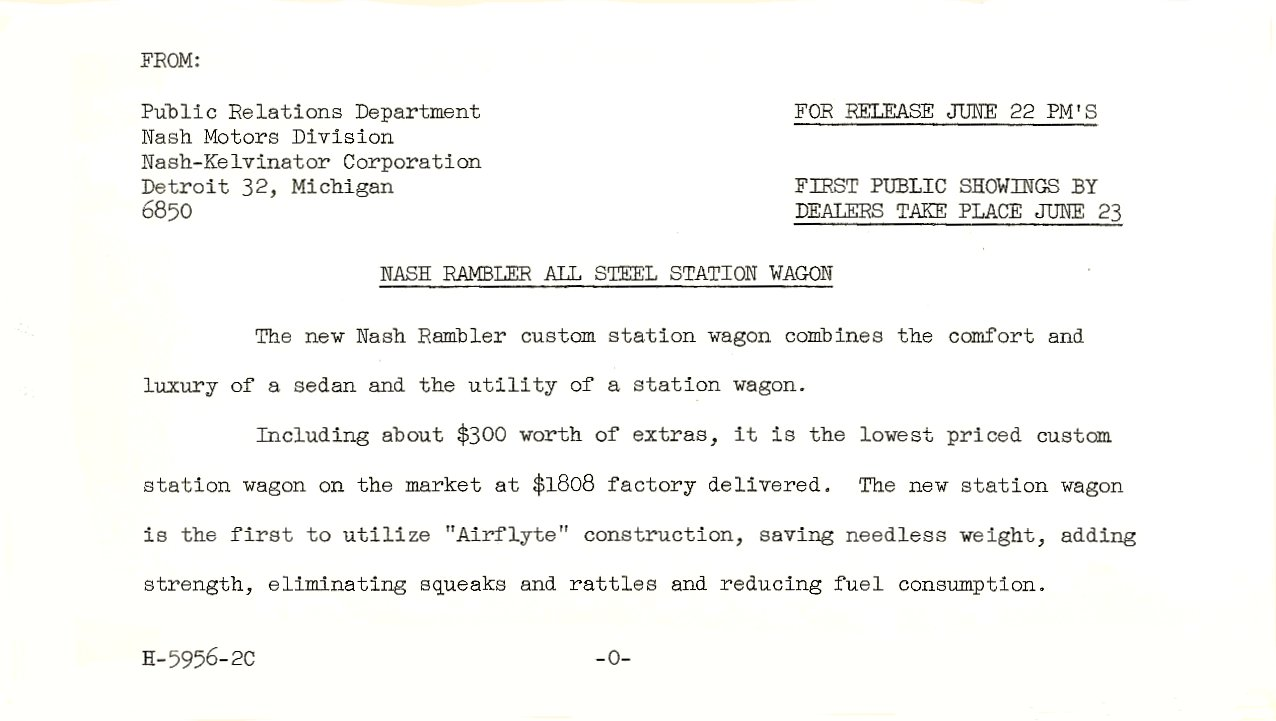 Press Release ca. June 22, 1950 Nash Rambler All Steel Station Wagon For Release June 22 PM'S H-5956-2C