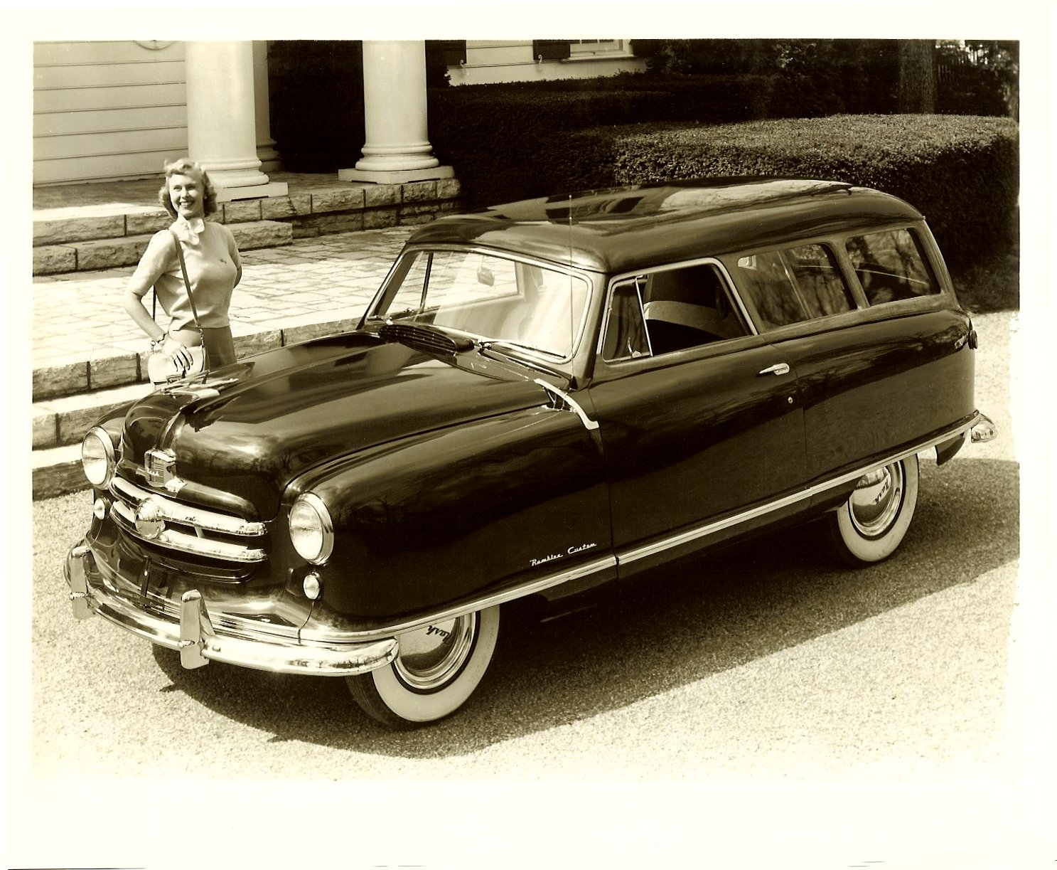 1951 NASH Rambler Custom Station Wagon Note: 1951 Flying Lady Hood Ornament 10″x8″ Black & White photograph H-5956-8C