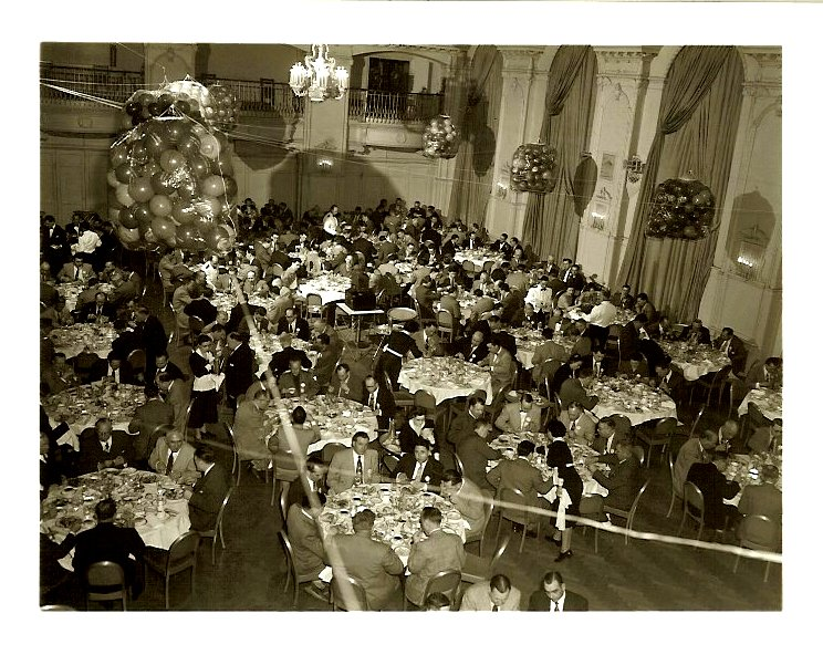 Presenting the New 1953 Nash Rambler Big party in a ballroom From a 5″x4″ Black & White negative