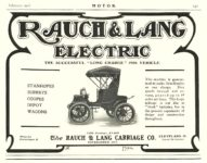 "1906 2 RAUCH & LANG Electric The Successful ""LONG CHARGE"" 1906 The Rauch & Lang Carriage Co. Cleveland, OHIO MoToR February 1906 9″x7″ page 131"
