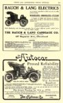 1908 6 RAUCH & LANG Electric NOISELESS – ODORLESS– CLEAN The Rauch & Lang Carriage Co. Cleveland, OHIO Cycle and AUTOMOBILE TRADE JOURNAL June 1908 5.75″x9.5″ page 215