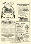 "1908 1 2 RAUCH & LANG Electric ""A Symbol of Mechanical Perfection"" The Rauch & Lang Carriage Co Cleveland, OHIO MOTOR AGE January 2, 1908 8.5″x11.75″ page 56"