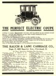 1909 RAUCH & LANG Electric THE PERFECT ELECTRIC COUPE The Rauch & Lang Carriage Co. Cleveland, OHIO 1909 4.5″x5.75″