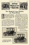 1913 7 RAUCH & LANG Electric IN THE WORLD OF THE ELECTRIC The Rauch & Lang Carriage Company Cleveland, OHIO AUTOMOBILE TRADE JOURNAL July 1913 6.5″x10″ page 209
