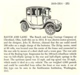 1914 RAUCH & LANG Electric Automobiles of the World By Albert L. Lewis and Walter A. Musciano DRAWINGS BY: Bjorn Karlstrom, Gary W. Musciano, Douglas Rolfe, Robert Godden Simon and Schuster New York 1977 ISBN: 0-671-22485-9 5.5″x8.5″ page 253