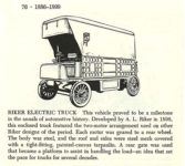 1898 RIKER Elecric Truck Automobiles of the World By Albert L. Lewis and Walter A. Musciano DRAWINGS BY: Bjorn Karlstrom, Gary W. Musciano, Douglas Rolfe, Robert Godden Simon and Schuster New York 1977 ISBN: 0-671-22485-9 5.5″x8.5″ page 76