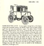 1900 RIKER Electric Auto Automobiles of the World By Albert L. Lewis and Walter A. Musciano DRAWINGS BY: Bjorn Karlstrom, Gary W. Musciano, Douglas Rolfe, Robert Godden Simon and Schuster New York 1977 ISBN: 0-671-22485-9 5.5″x8.5″ page 101