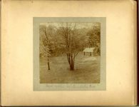 Deer cabin in Minnehaha Park 1897 Minneapolis & St. Paul, Minnesota PHOTOGRAPHS To: Mrs. N.F. Parsons from M.I. Came, St. Paul, Minn (524 Cedar?) October 21st 1897 Snapshot: 3.5″x3.5″ Album: 7″x5.5″