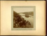 A Glimpse of Mississippi river from Soldiers home – looking north 1897 Minneapolis & St. Paul, Minnesota PHOTOGRAPHS To: Mrs. N.F. Parsons from M.I. Came, St. Paul, Minn (524 Cedar?) October 21st 1897 Snapshot: 3.5″x3.5″ Album: 7″x5.5″