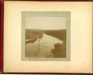 Mississippi River looking south from – Soldiers Home – 1897 Minneapolis & St. Paul, Minnesota PHOTOGRAPHS To: Mrs. N.F. Parsons from M.I. Came, St. Paul, Minn (524 Cedar?) October 21st 1897 Snapshot: 3.5″x3.5″ Album: 7″x5.5″