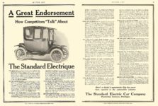 "1912 8 29 STANDARD Electrique How Competitors ""Talk"" About The Standard Electric Car Company Jackson, MICH MOTOR AGE August 29, 1912 8.5″x11″ pages 66 & 67"