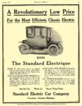 1913 1 STANDARD Electrique $1885 A Revolutionary Low Price The Standard Electric Car Co. Jackson, MICH MOTOR PRINT January 1913 10.25″x13.25″ page 45