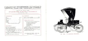 1902 STUDEBAKER Electric NO. 1363 STUDEBAKER Stanhope Catalogue No. 209 ELECTRIC VEHICLES STUDEBAKER BROS. MFG. CO. South Bend, IND U.S.A. REPRODUCTION 9″x8″ folded pages 10 & 11
