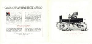 1902 STUDEBAKER Electric NO. 1354 STUDEBAKER Runabout Catalogue No. 209 ELECTRIC VEHICLES STUDEBAKER BROS. MFG. CO. South Bend, IND U.S.A. REPRODUCTION 9″x8″ folded pages 2 & 3