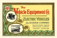 1903 The Vehicle Equipment Co. ELECTRIC VEHICLES HIGH GRADE ELECTRIC AUTOMOBILES PLEASURE VEHICLES COMMERCIAL VEHICLES VEHICLE EQUIPMENT COMPANY The RAINIER COMPANY, General Sales Agents New York, New York 11″x7.25″ Front cover